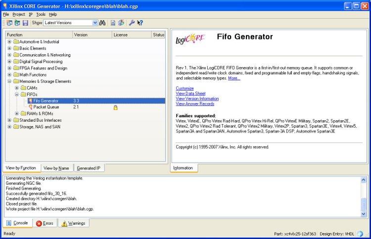 CSE 141L - Fa08 - Tutorial: Generating a FIFO Module with Xilinx