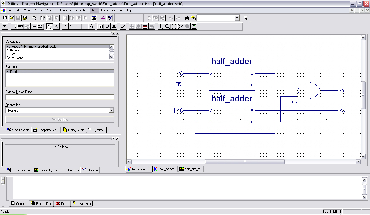 Tutorial For Lab 1 Full Adder Now To Complete The You Just Have Wire Inputs And Outputs Correctly Add Appropriate Io Connectors Then Simulate Make Sure It